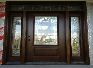 STAINED FIBERGLASS DOORS A